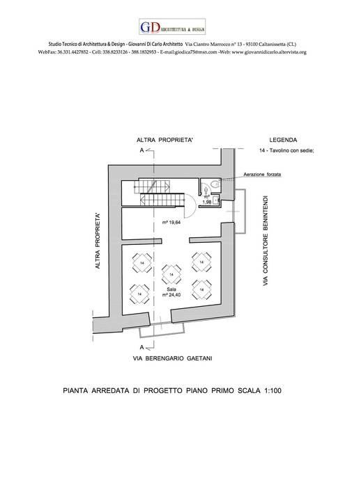 Piano Primo: Gastronomia in stile  di Studio GD Architettura & Design (Arch. Giovanni Di Carlo)