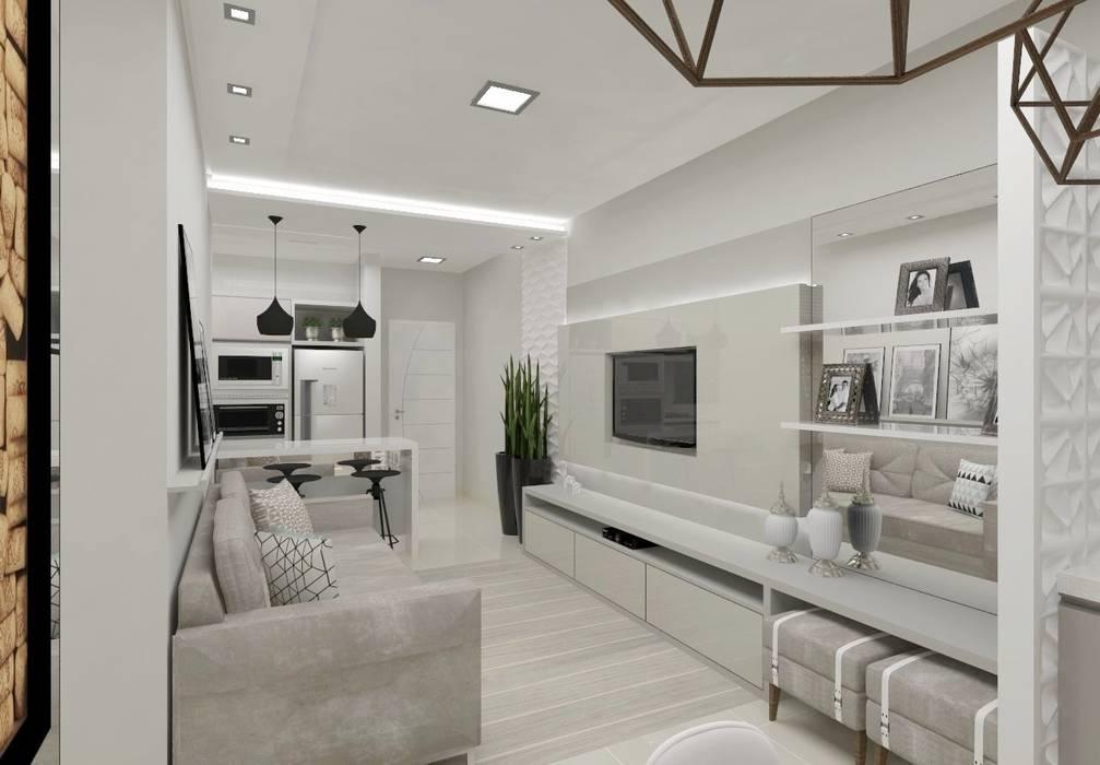 Sala Tv: Salas de estar  por Aline Bassani Arquitetura,Moderno MDF