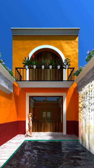 Casona Lizbeth, Centro Histórico Cd Carmen : Albercas de estilo colonial por SG Huerta Arquitecto Cancun