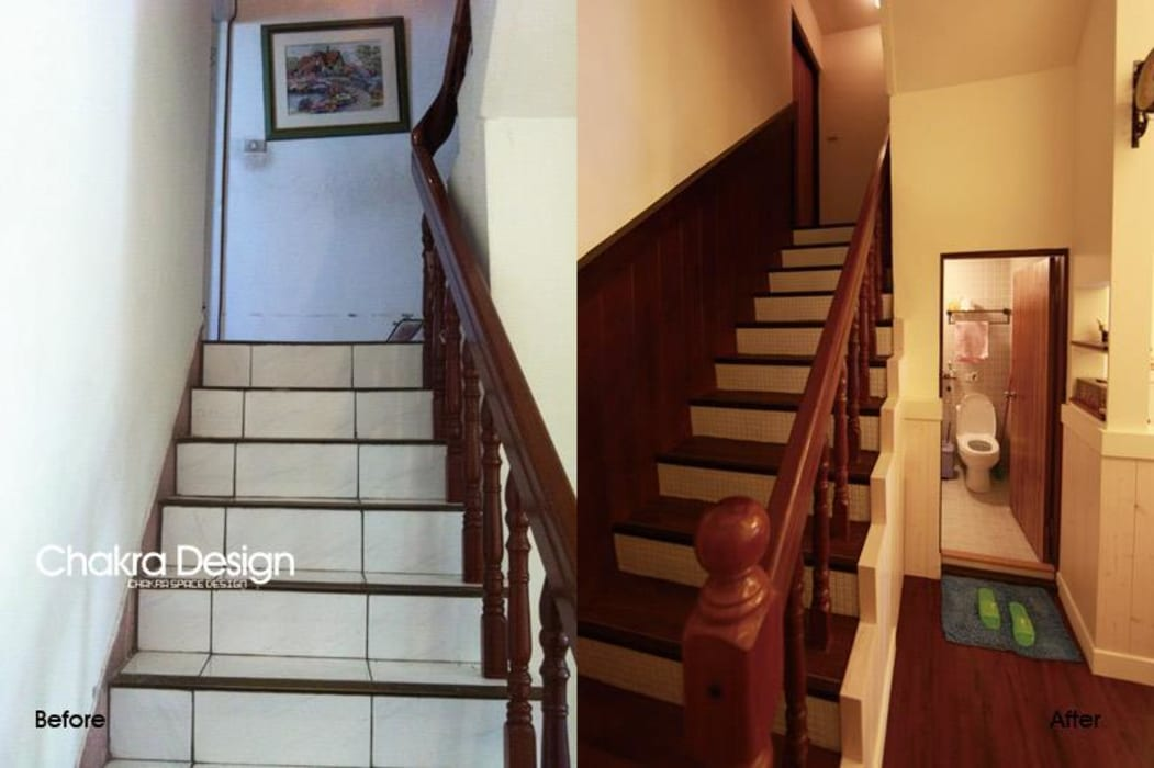 Country style corridor, hallway& stairs by 七輪空間設計 Country