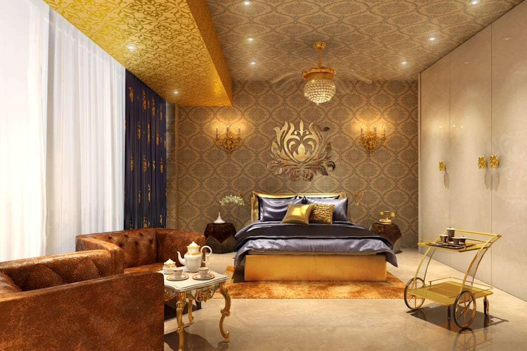 Gold Bedroom Classic style bedroom by AAMRAPALI BHOGLE Classic