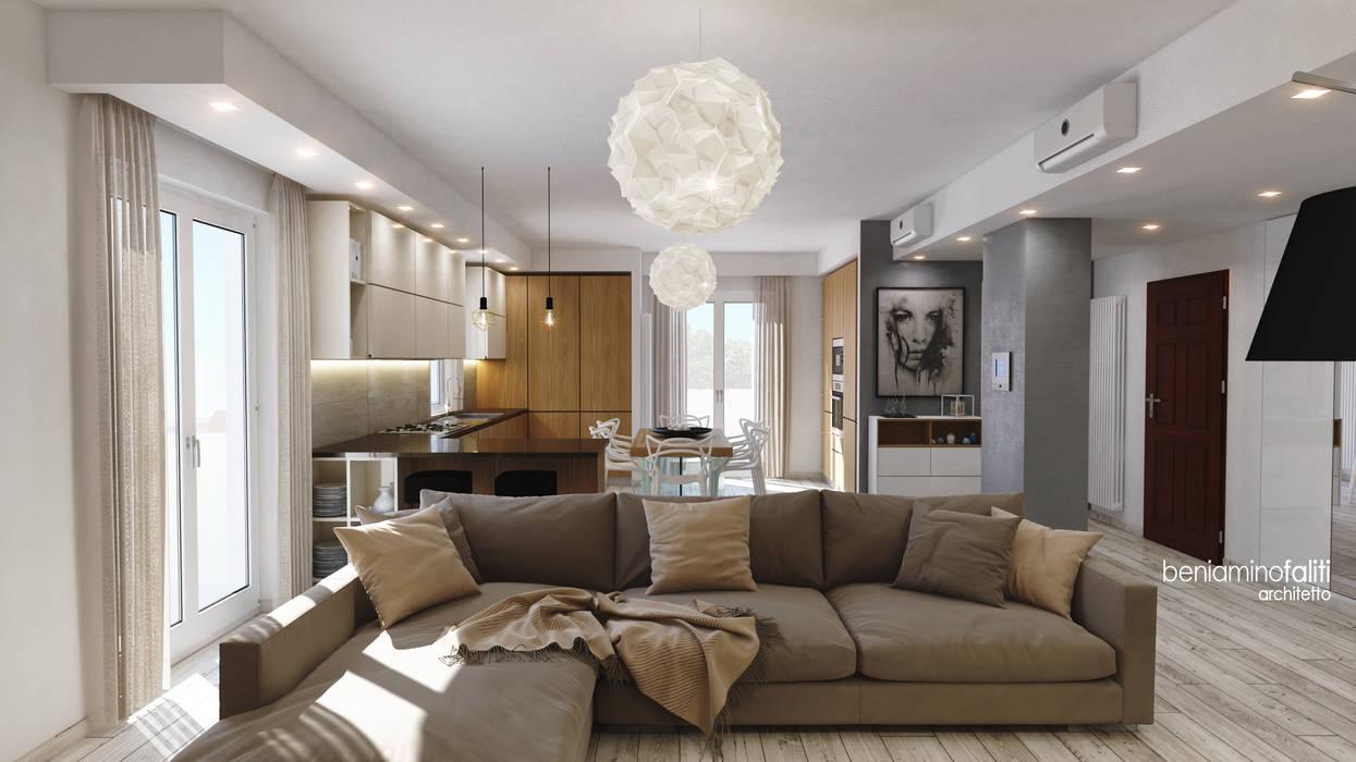 Zona living Soggiorno moderno di Beniamino Faliti Architetto Moderno Piastrelle