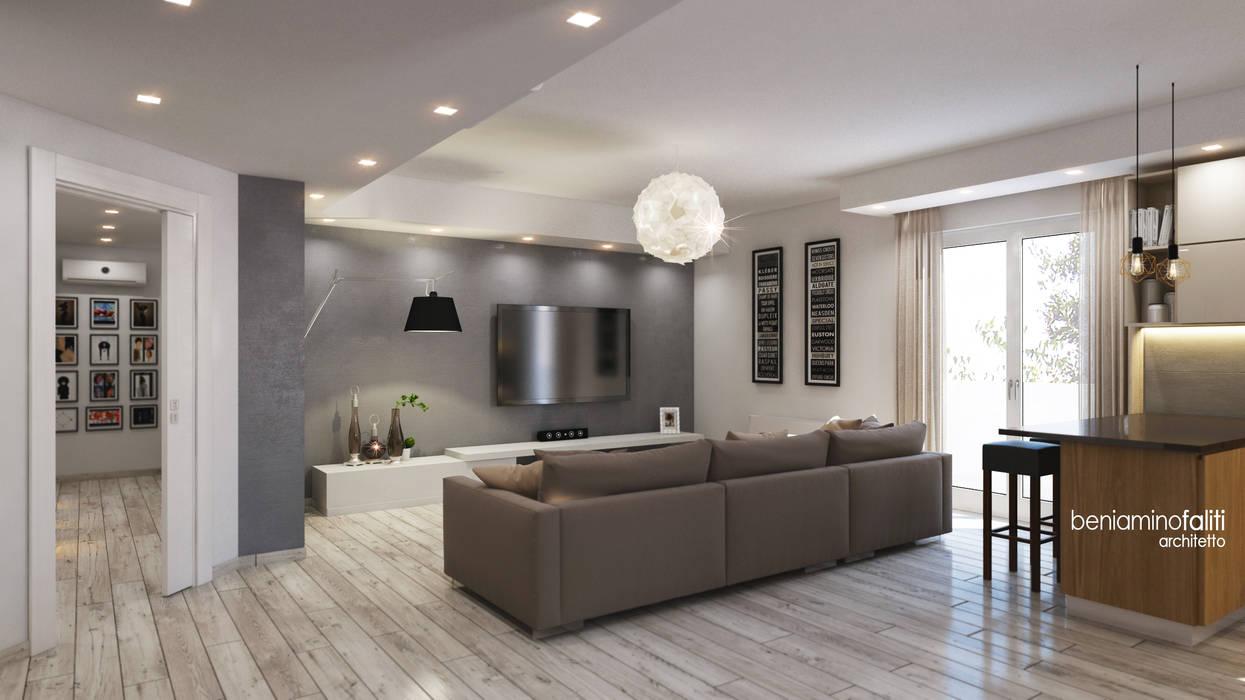 Zona living: Soggiorno in stile in stile Moderno di Beniamino Faliti Architetto