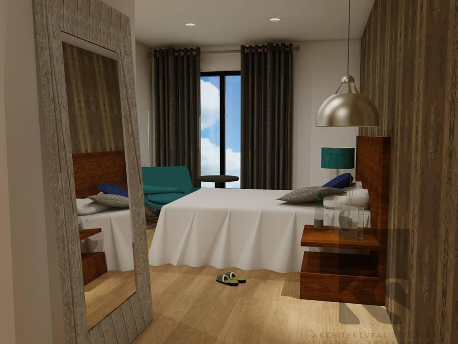 Recamara con vestidor: Recámaras de estilo ecléctico por KS Architektural Solution