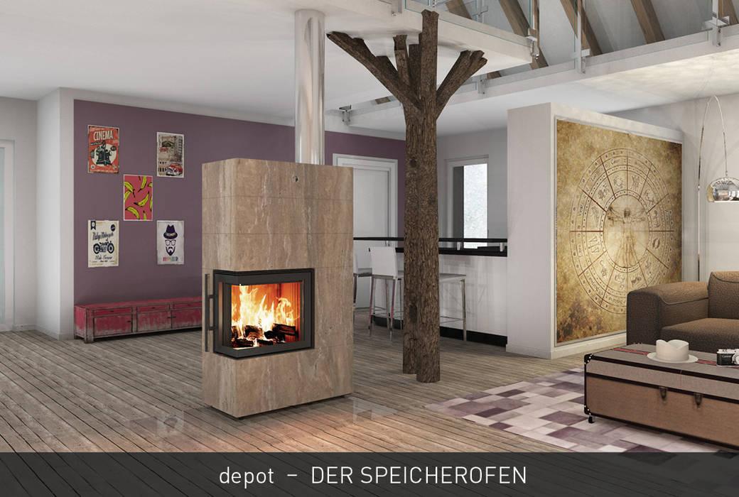CB stone-tec GmbH Ruang Keluarga Modern Batu Amber/Gold