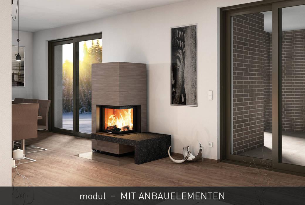 CB stone-tec GmbH Ruang Keluarga Modern Batu Red