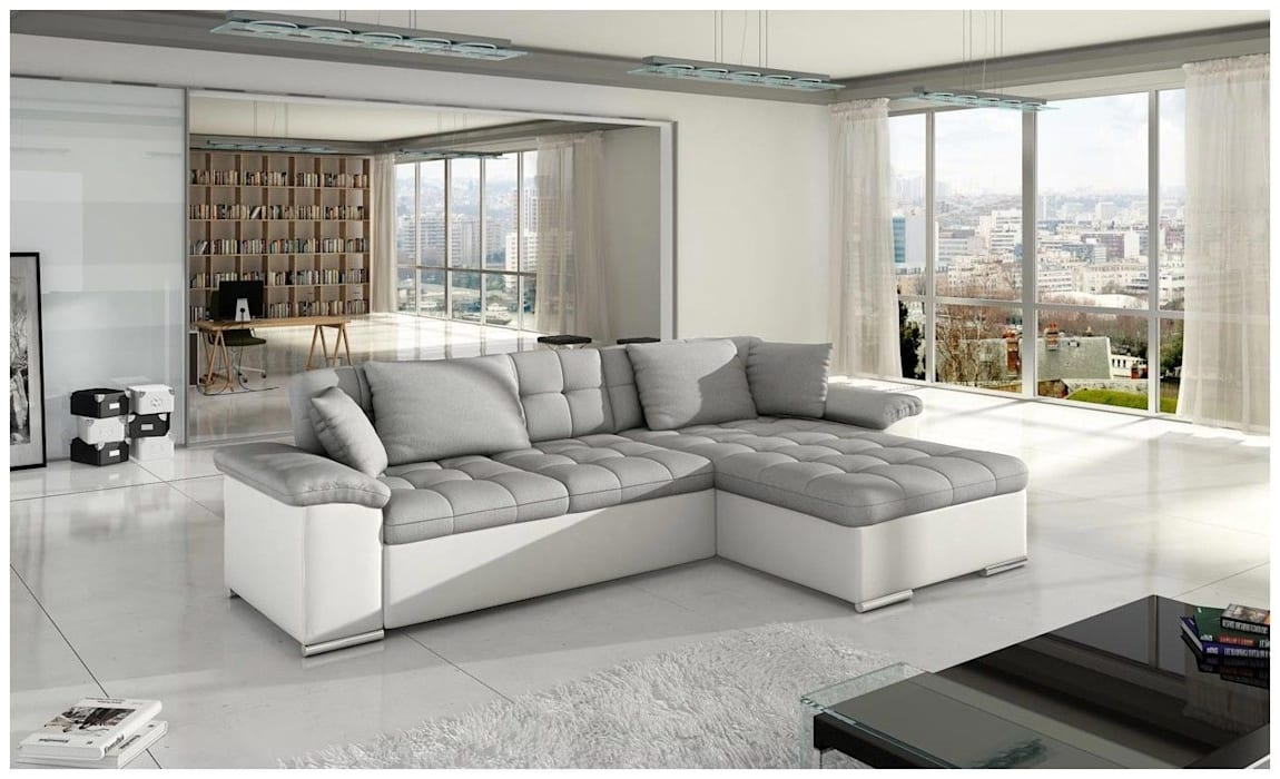 White Grey Sofa Living Room By Sofas In Fashion Homify