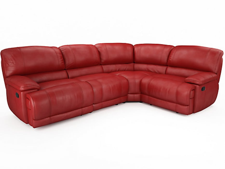 Large Red Leather Recliner Sofa Por