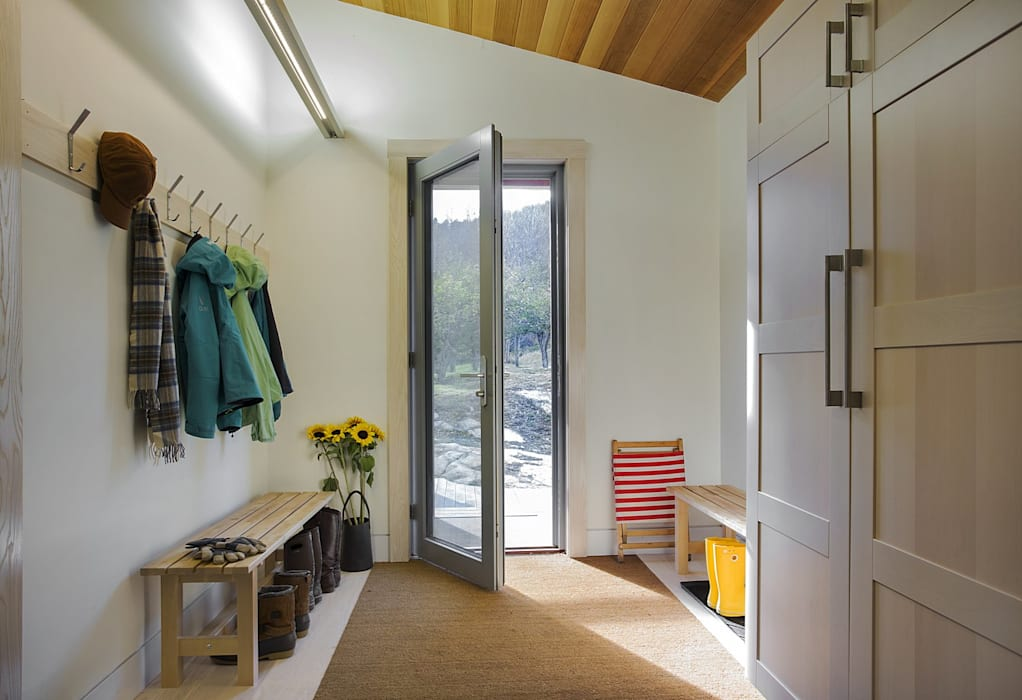 Entry Mudroom ZeroEnergy Design Modern Corridor, Hallway and Staircase White