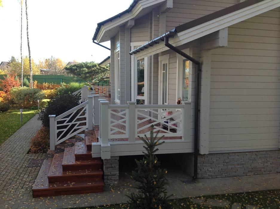Дом и баня в поселке Гавриково, МО. Дома в стиле кантри от ItalProject Кантри Дерево Эффект древесины