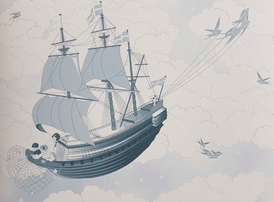 FISHING FOR STARS Sky Blue Wallpaper 10m Roll Hevensent HouseholdAccessories & decoration