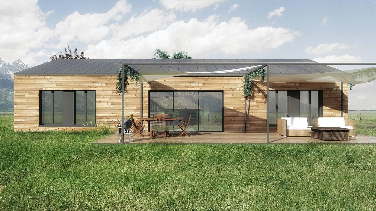 Maison autonome isolation paille Fenêtres & Portes modernes par Belle Ville Atelier d'Architecture Moderne Bois massif Multicolore