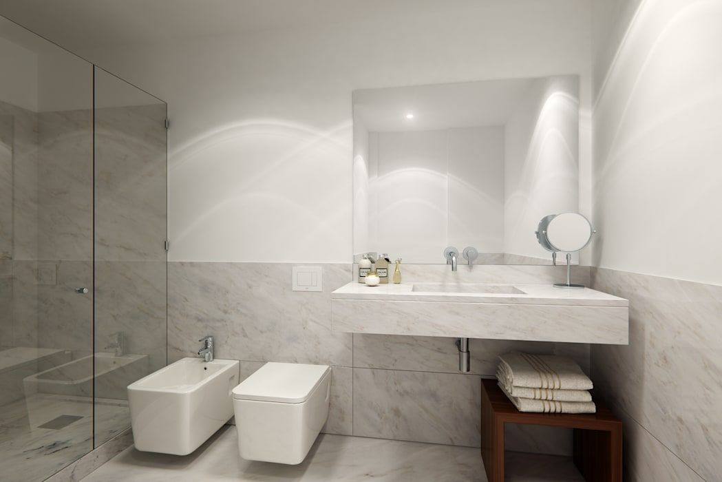 APARTAMENTO LUXO - T1 - AVENIDA DA LIBERDADE: Casas de banho  por EU LISBOA,