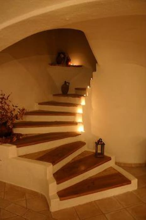 CASA Santa Barbara Mediterranean style corridor, hallway and stairs Bricks