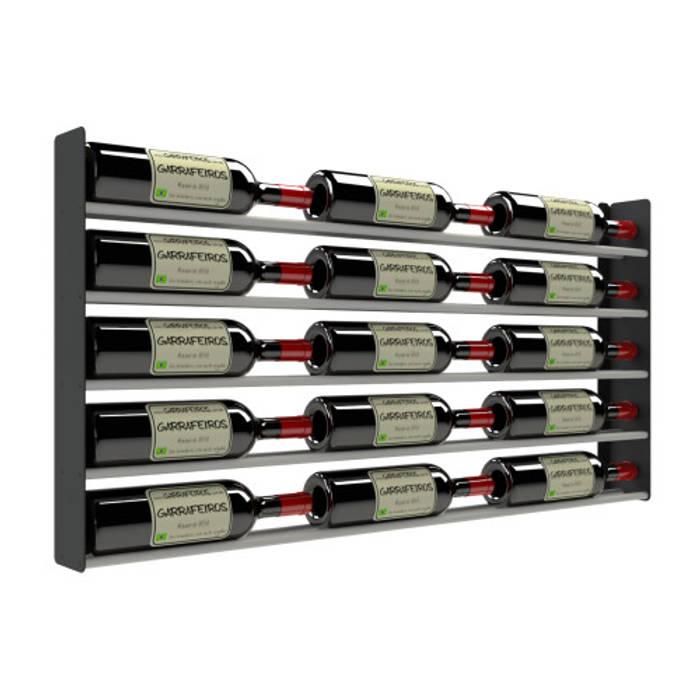 Suporte para 15 Garrafas de Vinho - 15GT Garrafeiros - Adegas para Vinho Adega Metal Preto
