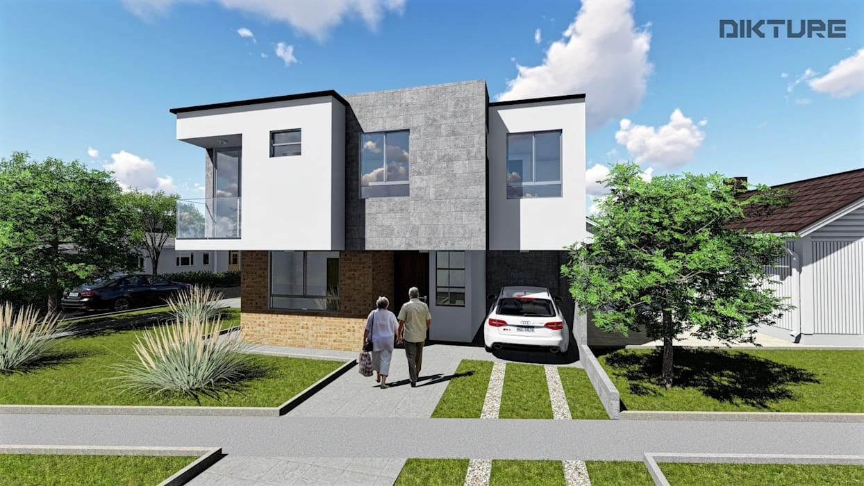 Fachada Principal - Ingreso 1 Apto Casas modernas de DIKTURE Arquitectura + Diseño Interior Moderno