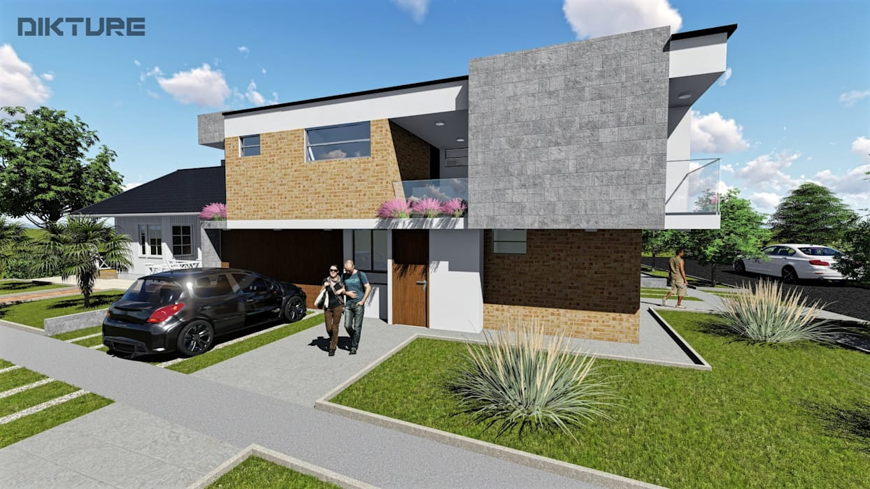 Fachada lateral - Ingreso 2 Aptos : Casas de estilo  por DIKTURE Arquitectura + Diseño Interior,