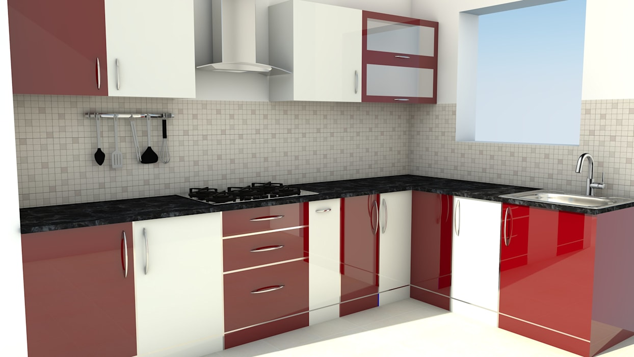Modular L Shape Kitchen without Loft:  Kitchen by ServiceBELL Solutions PVT Ltd