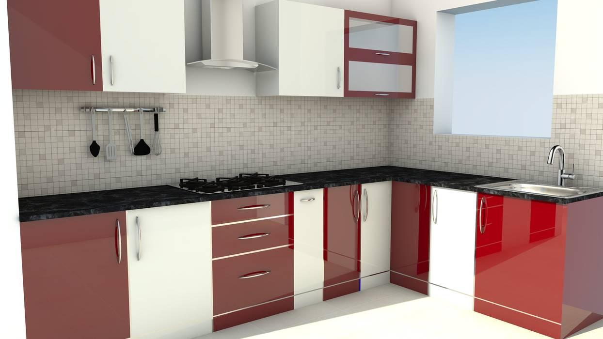 Modular L Shape Kitchen without Loft Modern kitchen by ServiceBELL Solutions PVT Ltd Modern Plywood