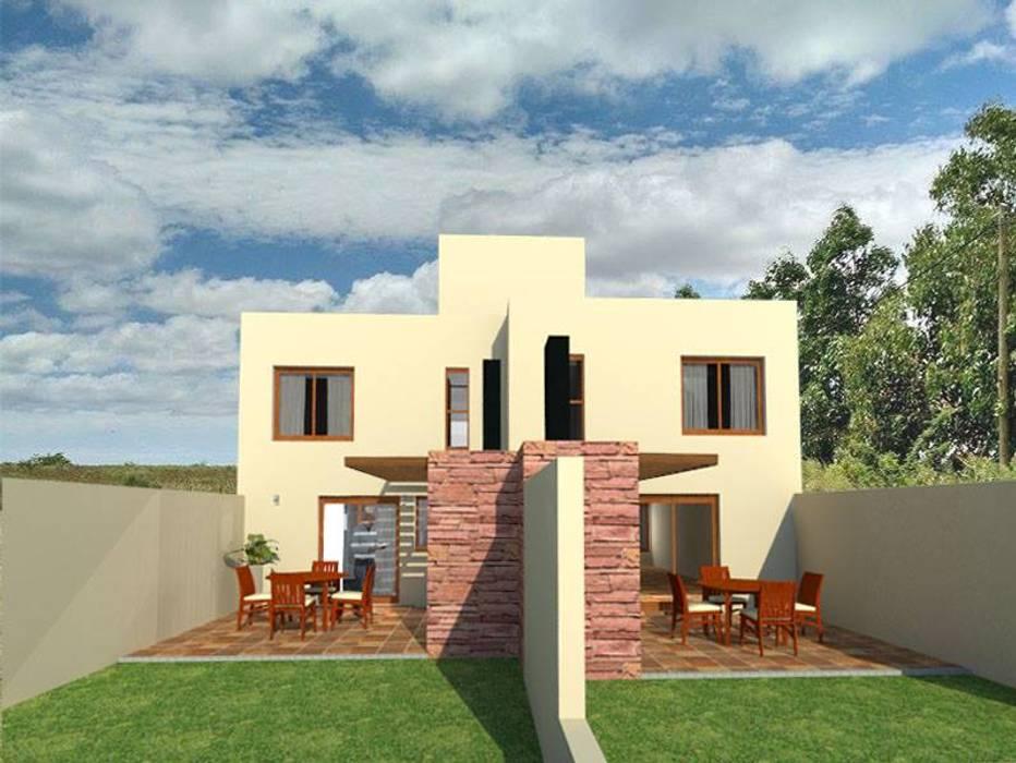 Vista posterior pastios: Casas de estilo  por Estudio ACC,Mediterráneo