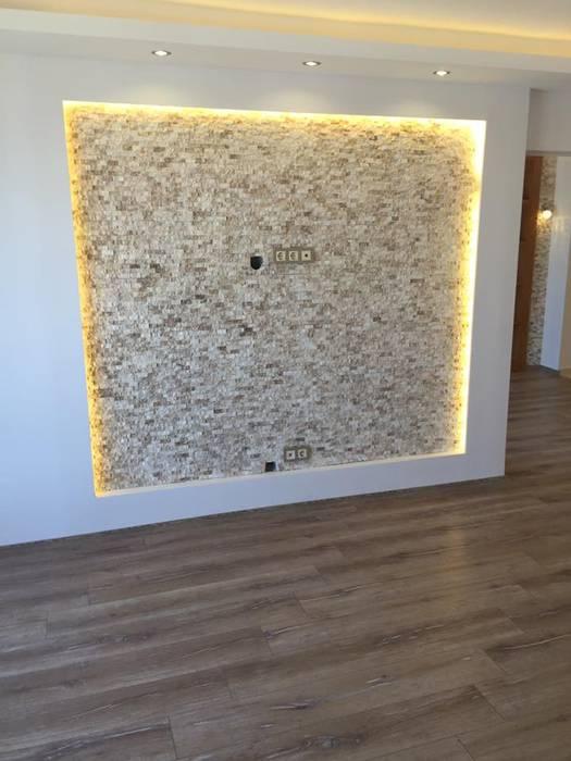 Tv Ünitesi için Patlatma Taş Modern Çalışma Odası Lens İnşaat Elektrik Elektronik San.Tic.Ltd.Şti. Modern Kumtaşı