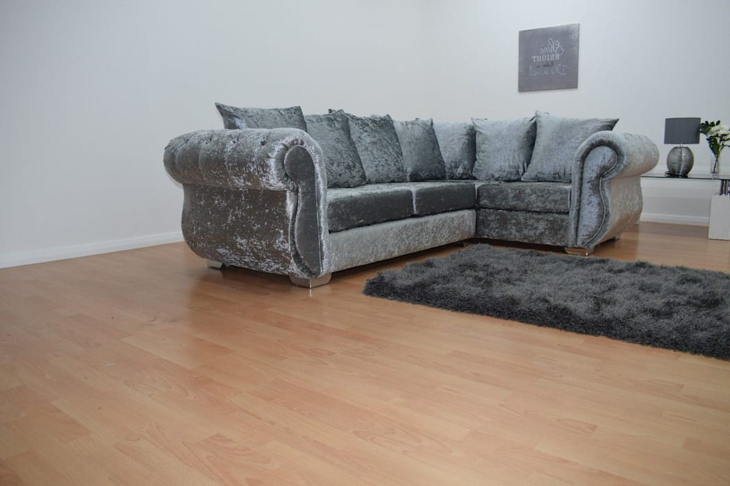 Grey Velvet Fabric Corner Sofa Living Room By Sofas In Fashion