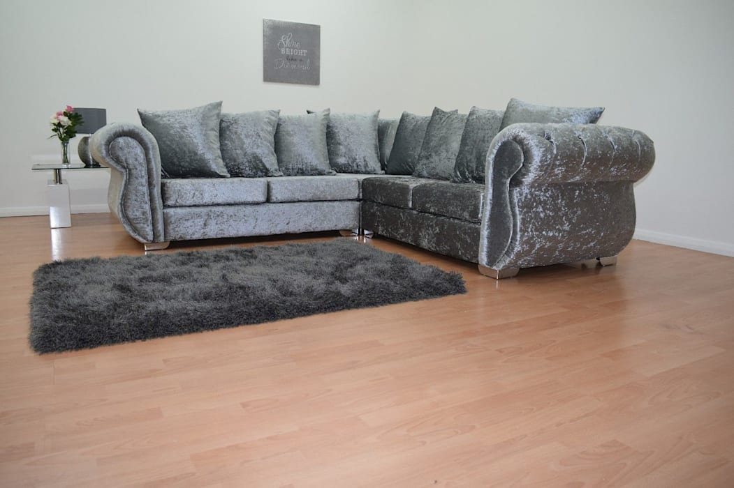 Crushed Velvet Corner Sofa Silver Living Room By Sofas In Fashion
