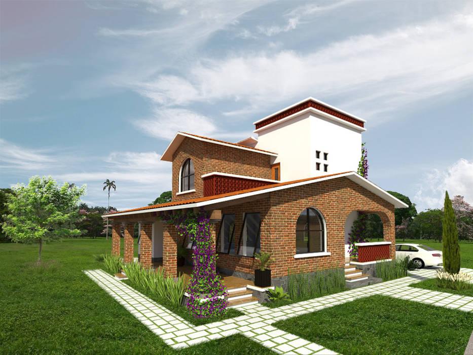 Fachada lateral Arqternativa Casas rurales Ladrillos Rojo
