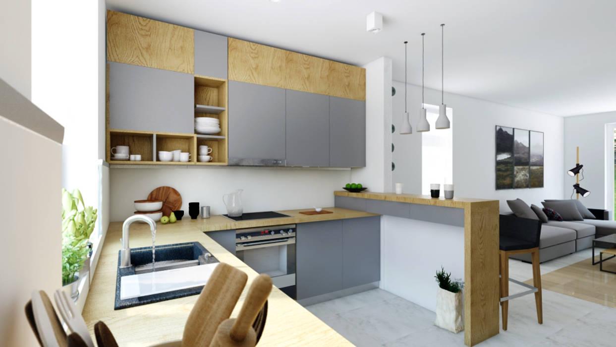 Szara Z Drewnem Styl W Kategorii Kuchnia Zaprojektowany