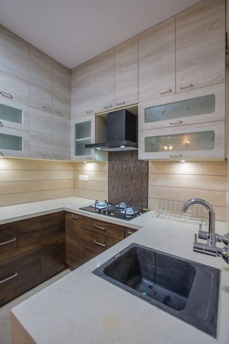 3 BHK apartment interiors in rustic look theme In Built Concepts is now FABDIZ Classic style kitchen Plywood White