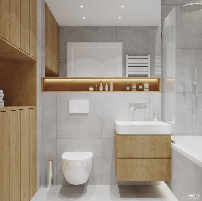 Projekt mieszkania. Kraków Nowe Czyżyny Skandynawska łazienka od PRØJEKTYW | Architektura Wnętrz & Design Skandynawski