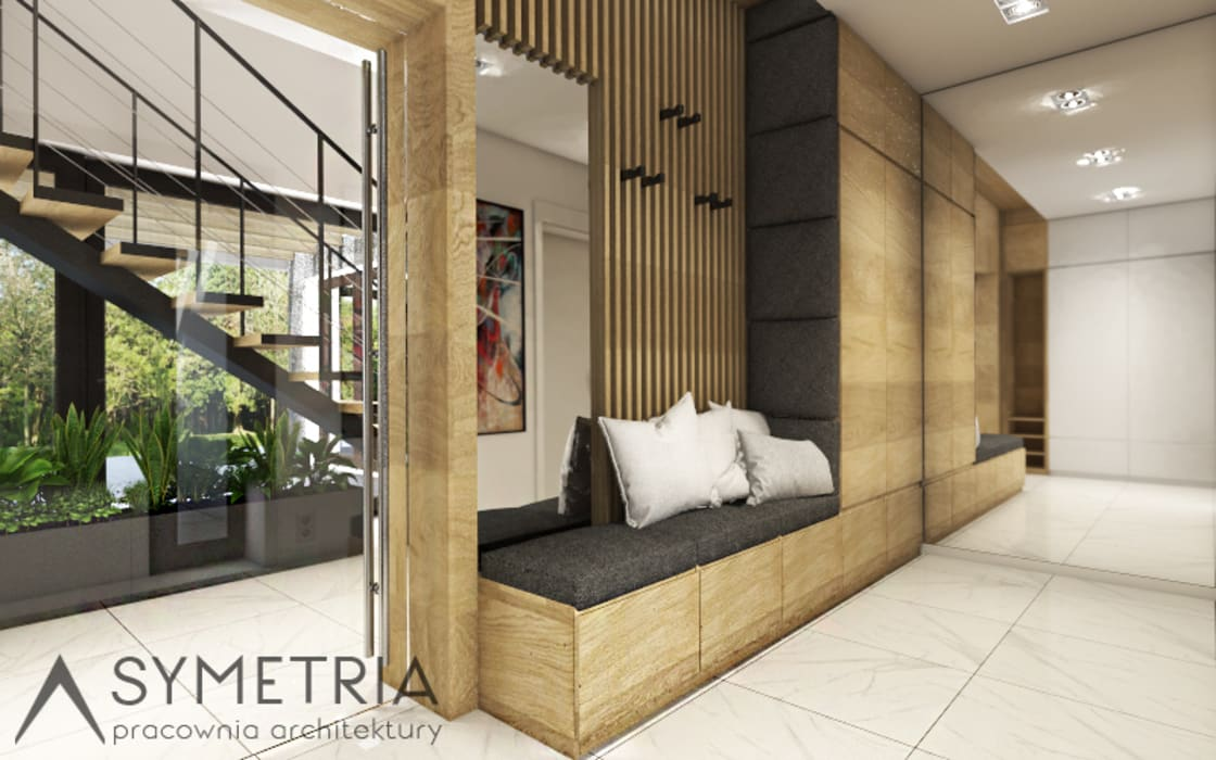 DOM JEDNORODZINNY 180 m2 // SINGLE-FAMILY HOUSE 180m2: styl , w kategorii Korytarz, przedpokój zaprojektowany przez SYMETRIA pracownia architektury