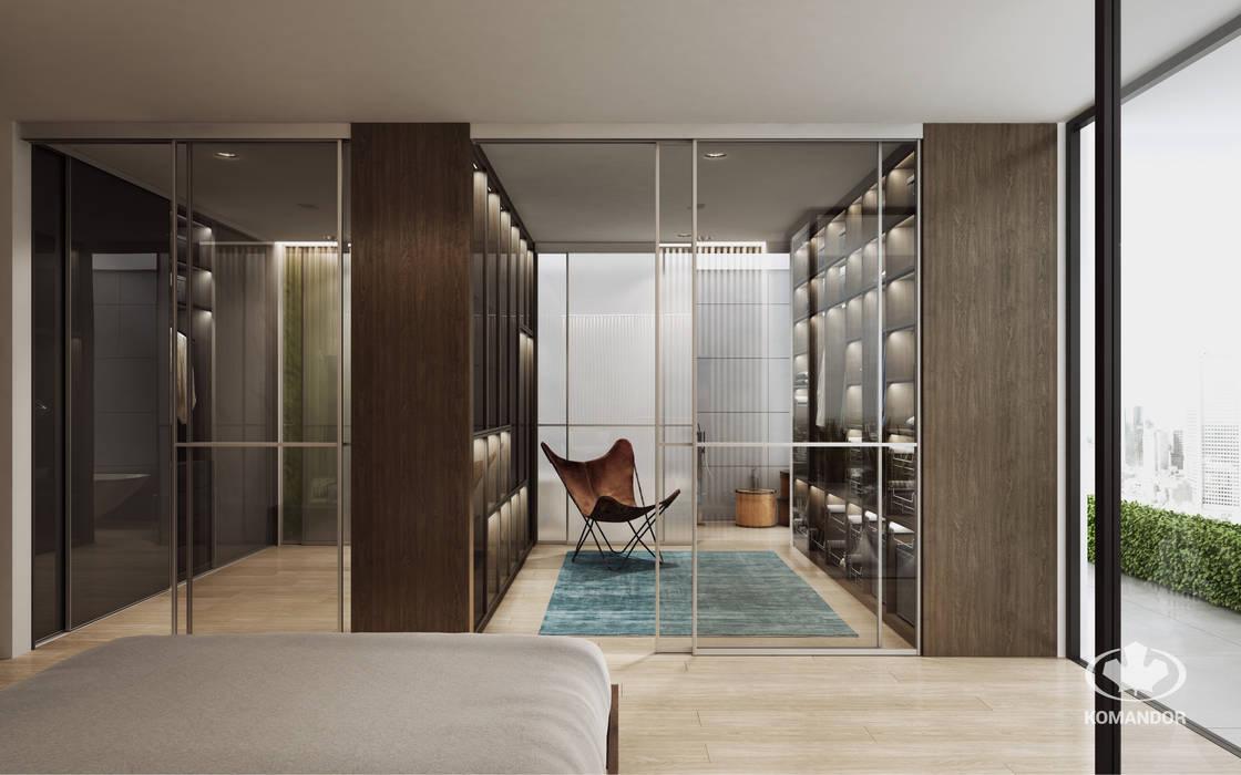 Komandor - Wnętrza z charakterem Modern style bedroom Chipboard Brown