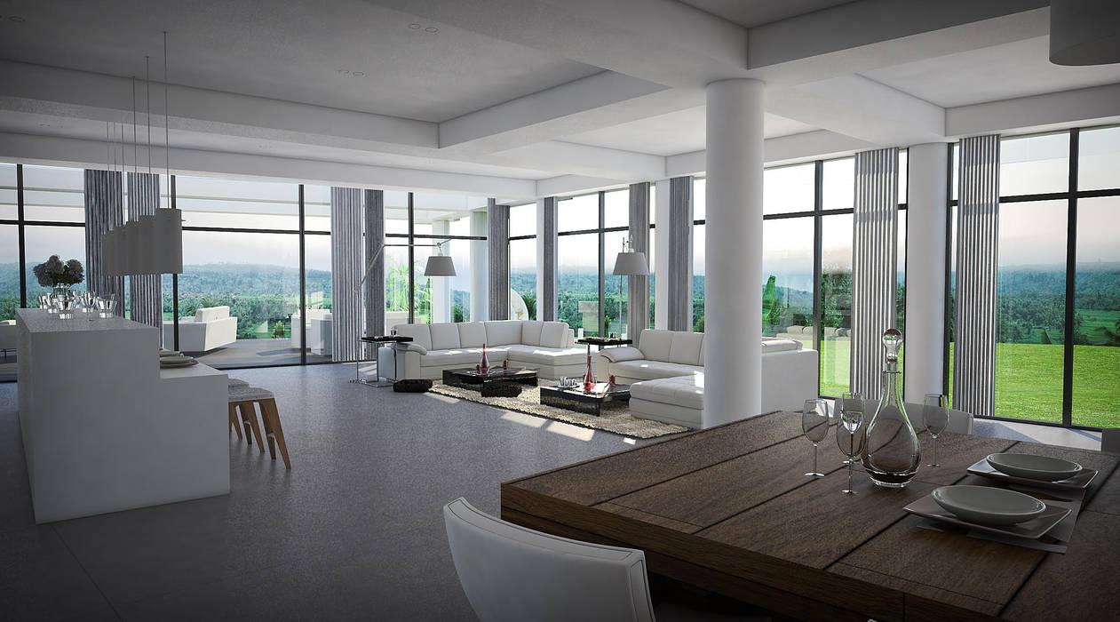 Casa 17 Vivian Dembo Arquitectura Salas de estilo moderno Mármol Blanco