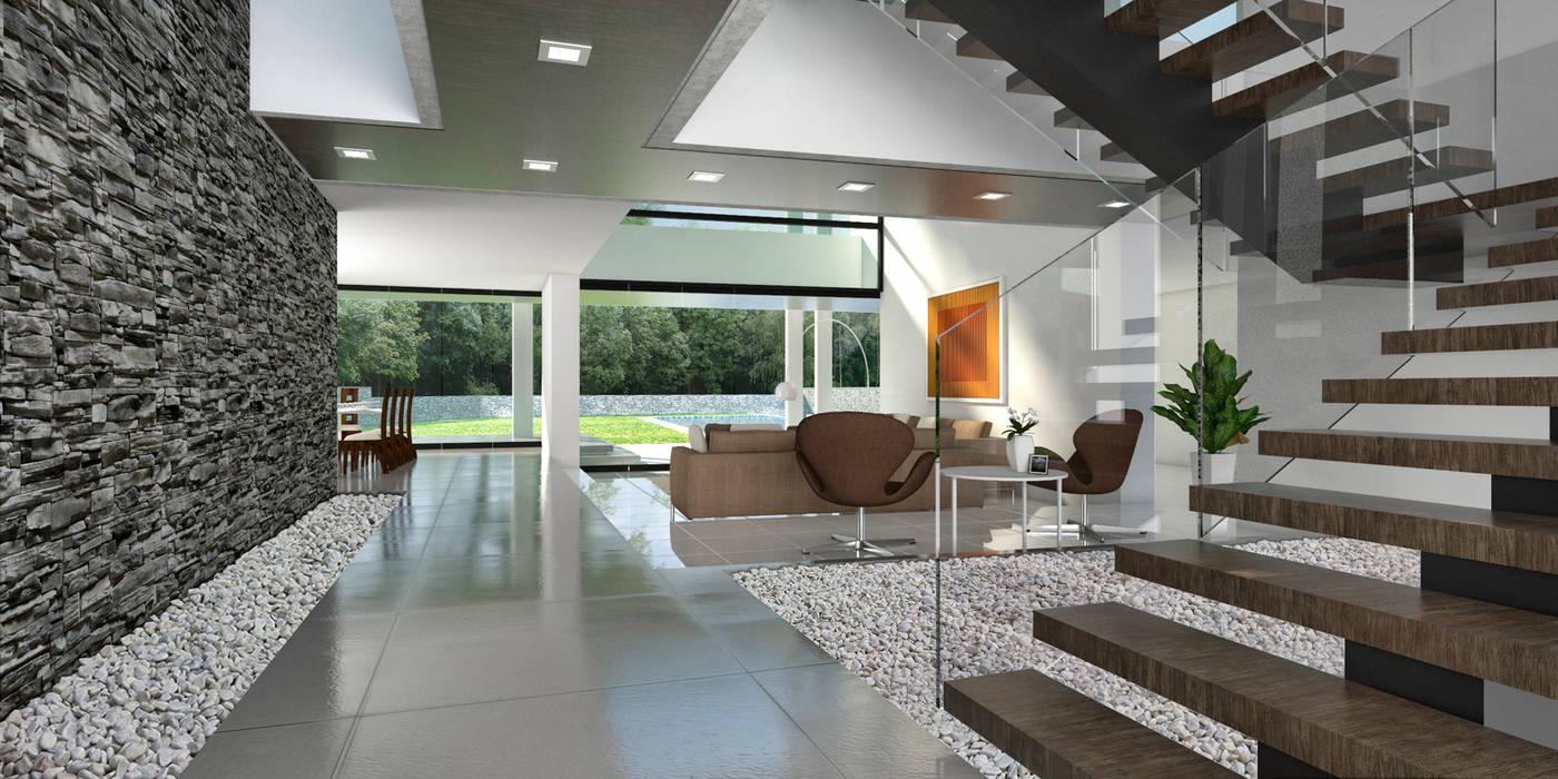 Casa 17 salas recibidores de estilo moderno por vivian for Arquitectura moderna casas interiores