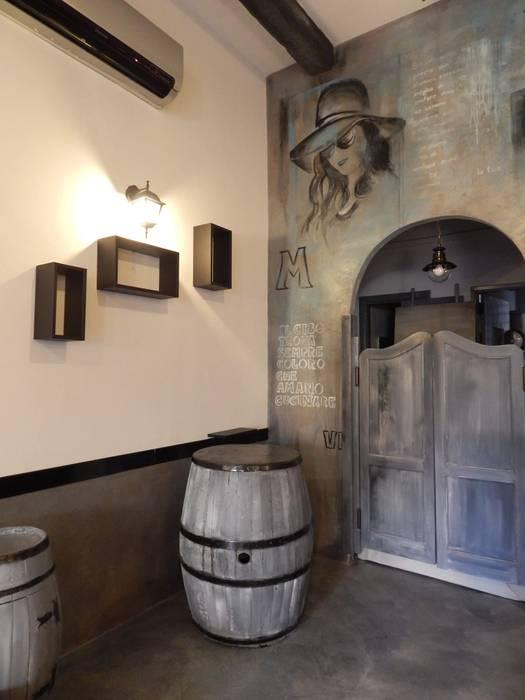 Restyling ristorante Spazi commerciali moderni di Meraki di Irene Mancini Decorazione d'Interni Moderno Legno Effetto legno