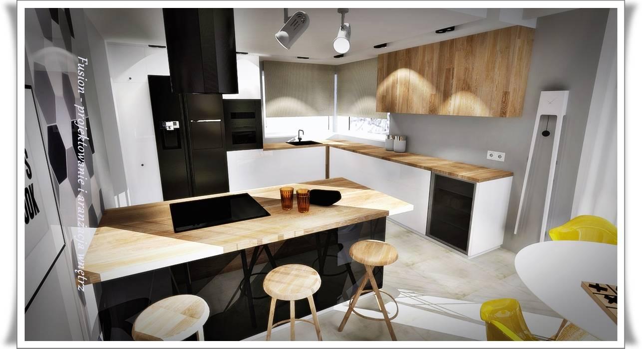 Kuchnia Z Wyspą Styl W Kategorii Salon Zaprojektowany