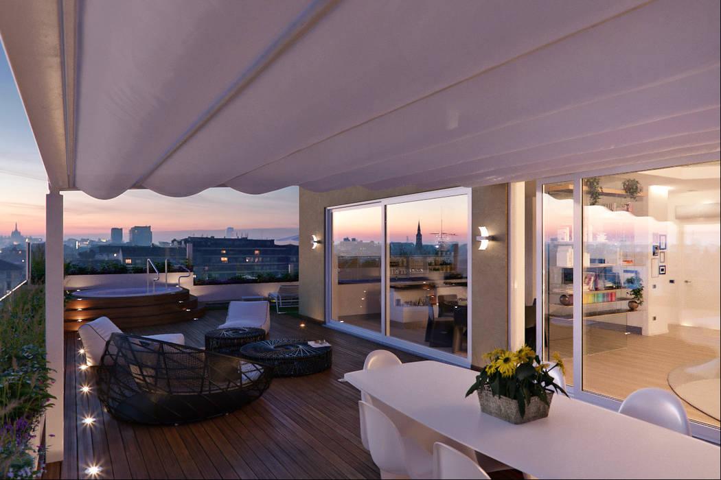 Balcones y terrazas de estilo moderno de Annalisa Carli Moderno Derivados de madera Transparente
