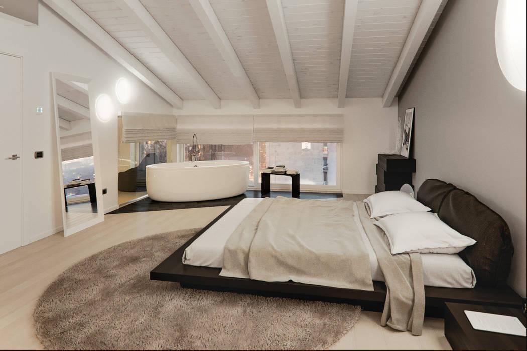 Un attico in stile loft in milano camera da letto moderna di ...