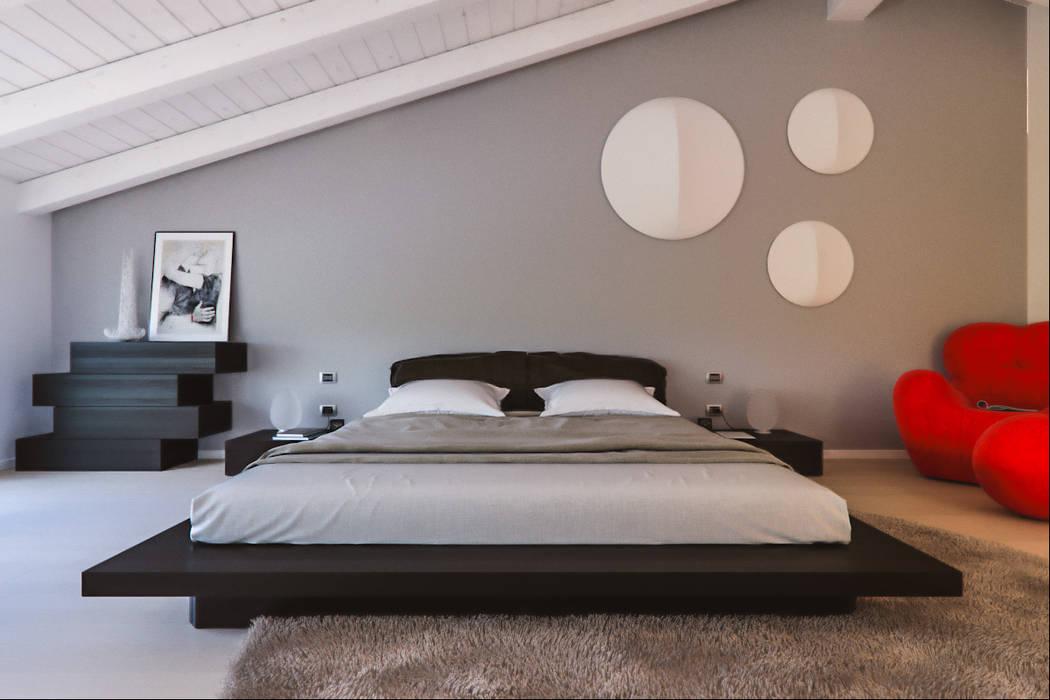 Un attico in stile loft in milano: camera da letto in stile di ...