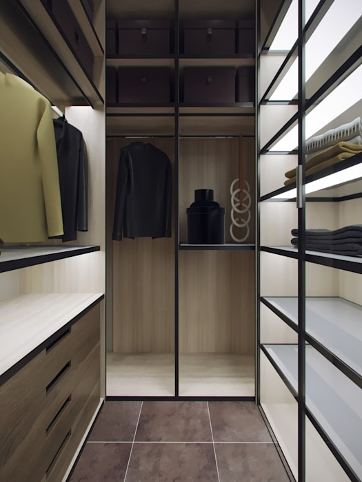 Walk in closet de estilo  por Студия дизайна интерьера Маши Марченко, Moderno