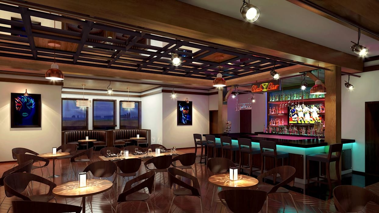 Interior design rendering for bar in club: modern Media room by KCL-Solutions