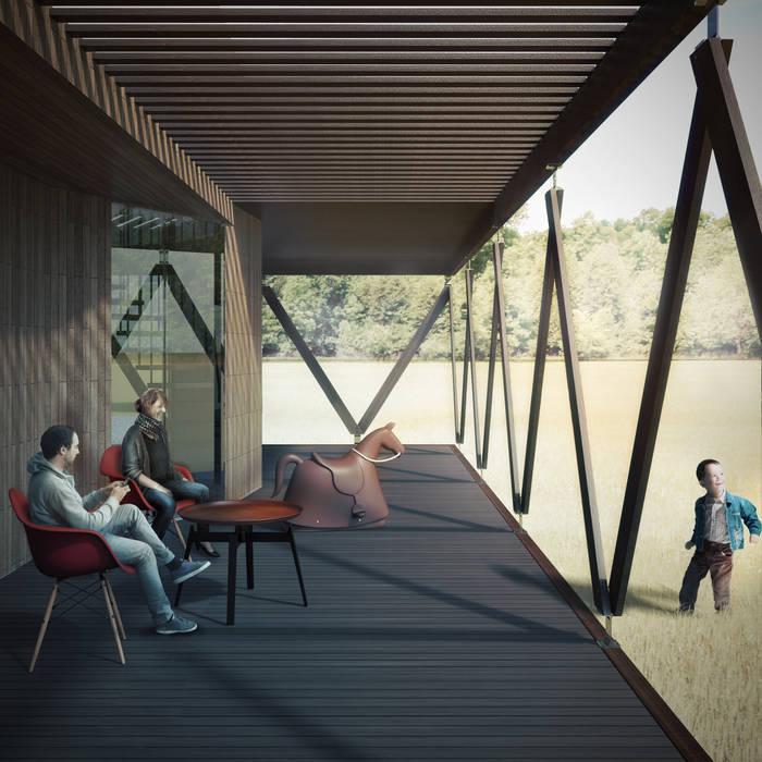 Terraza exterior B+V Arquitectos Casas de estilo minimalista