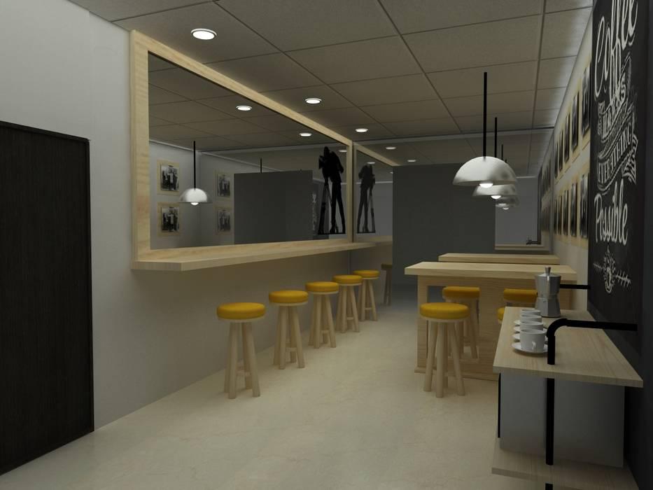 CAFETERIA INDUSTRIAL MODULAR Comedores de estilo industrial de SIMETRIC ARQUITECTURA INTERIOR Industrial Madera Acabado en madera