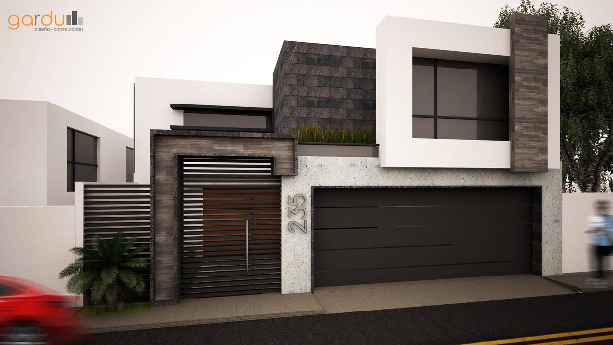 Fachada Minimalista : Casas de estilo  por GarDu Arquitectos