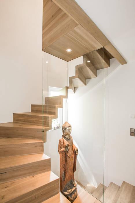 Halbgewendelte Faltwerktreppe mit Antrittspodest und einer Glasvitrine Holzmanufaktur Ballert e.K. Moderner Flur, Diele & Treppenhaus Holz