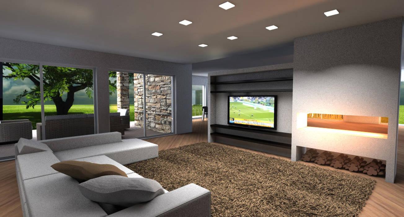Living moderno con parete attrezzata tv e camino soggiorno in stile di architettiamo progetti - Parete attrezzata con camino ...