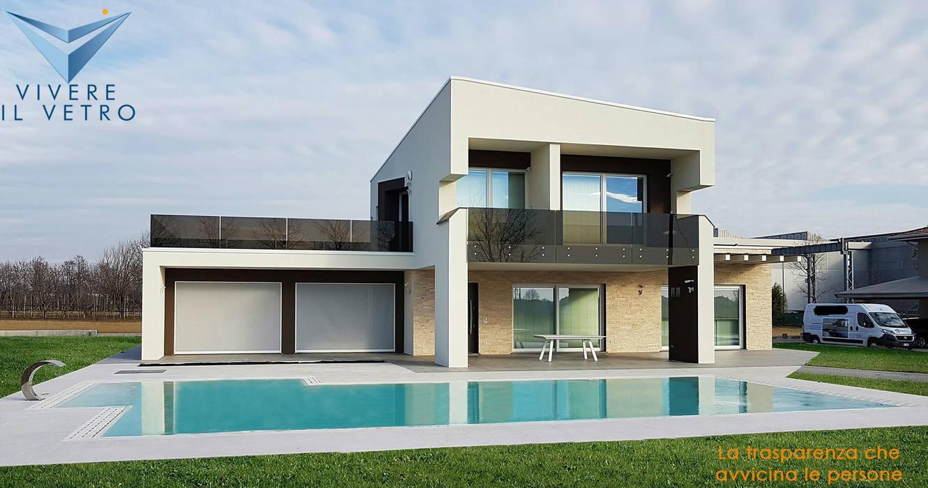 Casa Stile Moderno Esterni : Parapetti esterni vetro bronzo case in stile in stile moderno di