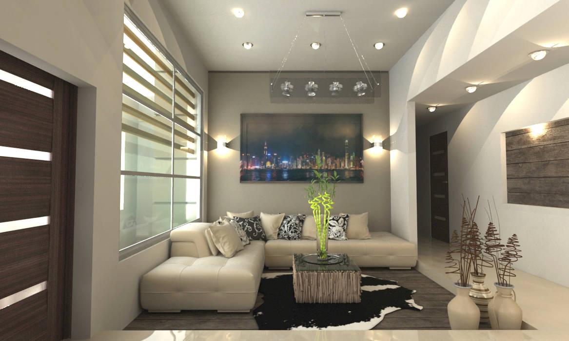 SALA  PRINCIPAL: Salas de estilo  por OLLIN ARQUITECTURA , Moderno Aluminio/Cinc