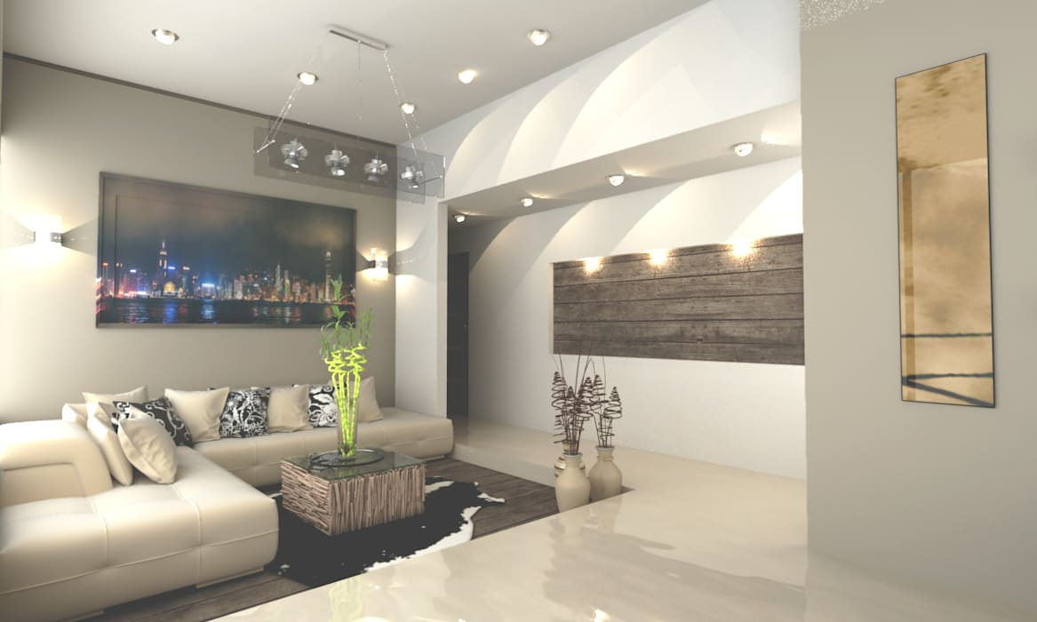CORREDOR PRINCIPAL: Salas de estilo moderno por OLLIN ARQUITECTURA